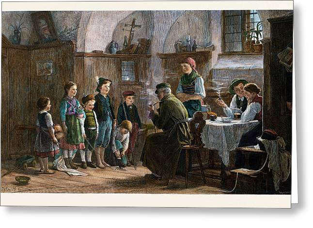 The Children And The Uncle, 1842-1908 Greeting Card by Austrian School
