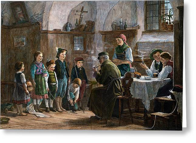 The Children And The Uncle. Studied In Vienna And Munich Greeting Card by Austrian School
