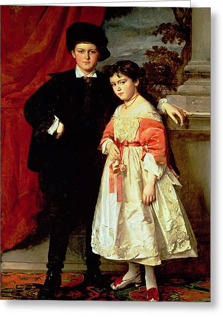The Children Of Freiherr Von Seidler Greeting Card by Heinrich von Angeli