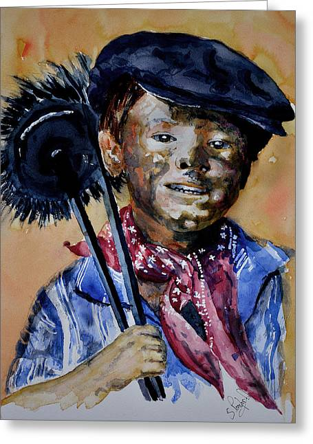 Greeting Card featuring the painting The Chimney Sweep by Steven Ponsford