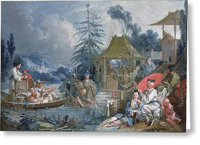 The Chinese Fishermen, C.1742 Oil On Canvas Greeting Card