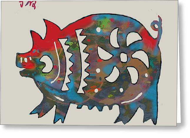 The Chinese Lunar Year 12 Animal - Boar Pig  Pop Stylised Paper Cut Art Poster Greeting Card by Kim Wang
