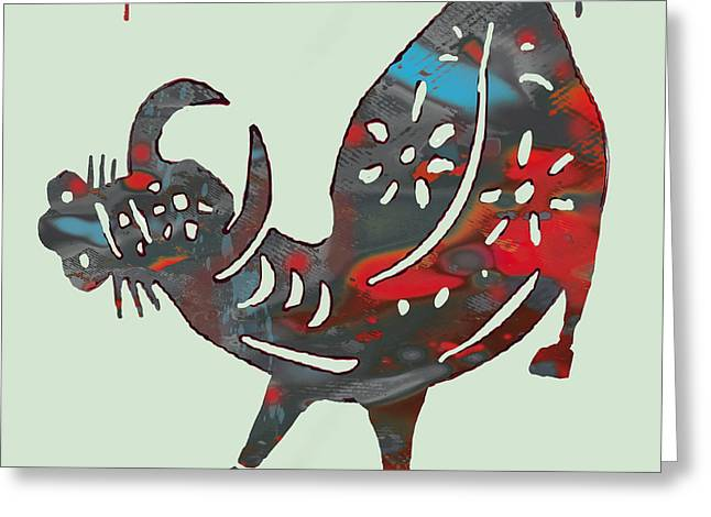 The Chinese Lunar Year 12 Animal - Ox Pop Stylised Paper Cut Art Poster Greeting Card by Kim Wang