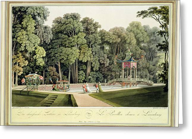 The Chinese Pavilion In The Laxenburg Greeting Card by Laurenz Janscha
