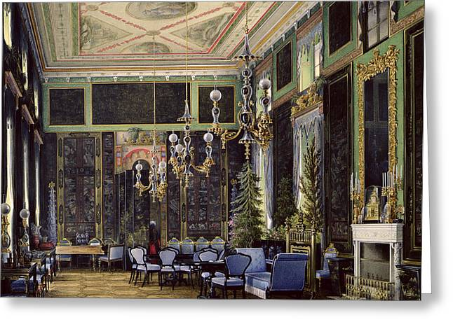 The Chinese Room In The Great Palais In Tsarskoye Selo Wc, Gouache And Ink On Paper Greeting Card