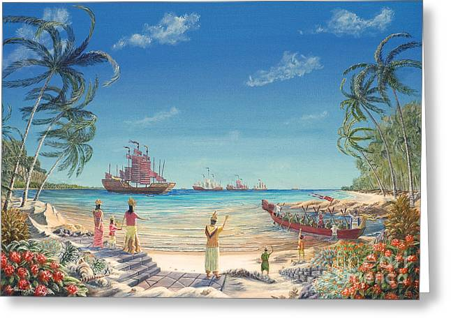 The Chinese Treasure Fleet Arrives Greeting Card