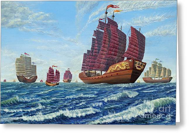 The Chinese Treasure Fleet Sets Sail Greeting Card