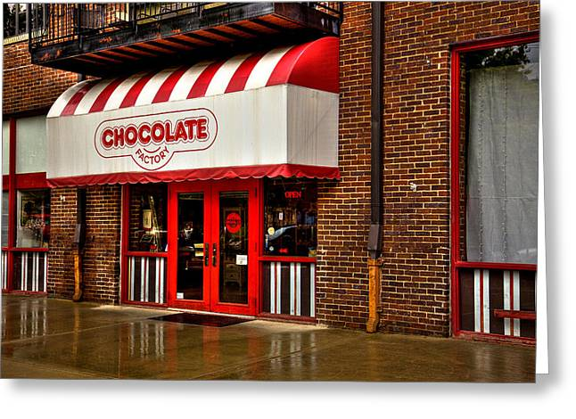 The Chocolate Factory Greeting Card by David Patterson
