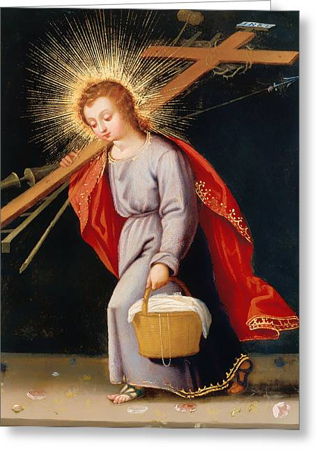 The Christ Child Bearing Instruments Of Passion Greeting Card by Mountain Dreams