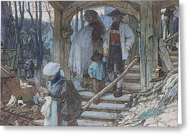 The Christening Gate In Lausanne, C.1861 Greeting Card by Matthijs Maris
