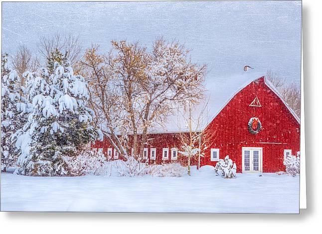The Christmas Barn Greeting Card by Gigi Embrechts