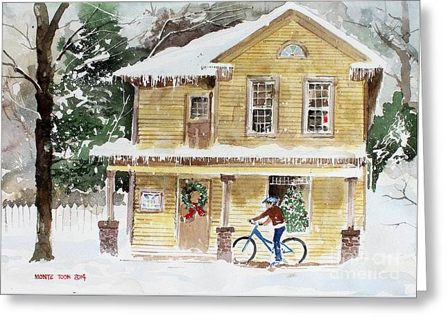 The Christmas Bike Greeting Card by Monte Toon
