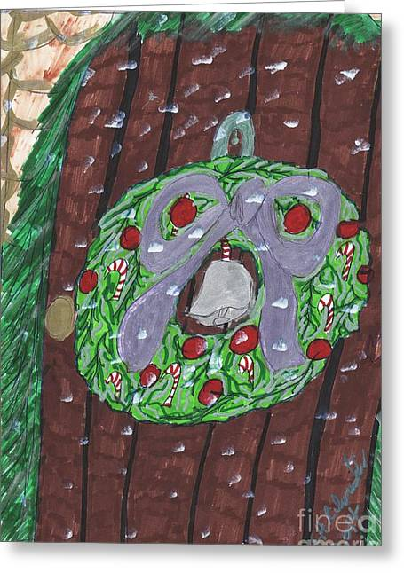 The Christmas Door Wreathe Greeting Card by Elinor  Rakowski