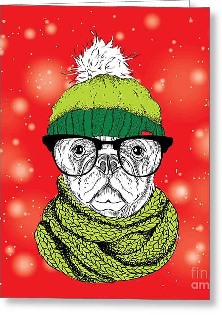 The Christmas Poster With The Image Dog Greeting Card by Sunny Whale
