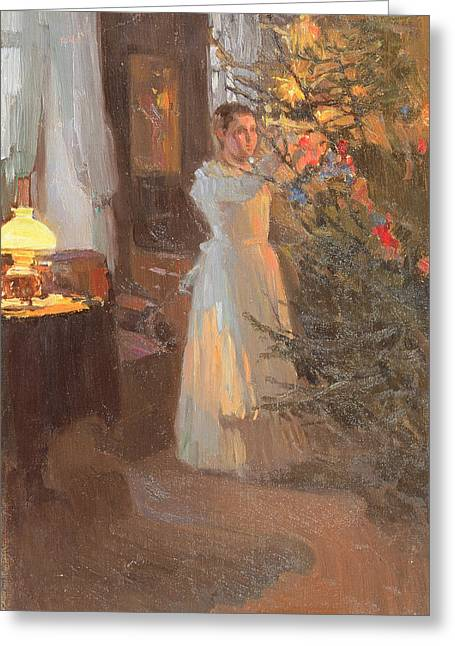 The Christmas Tree Greeting Card by Alexei Mikhailovich Korin