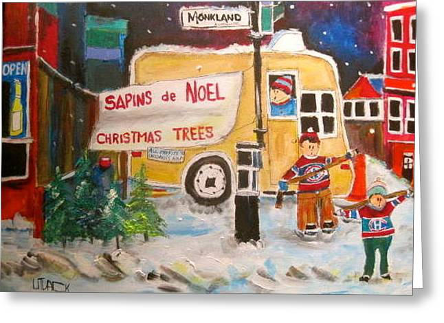 The Christmas Tree Vendor Greeting Card by Michael Litvack