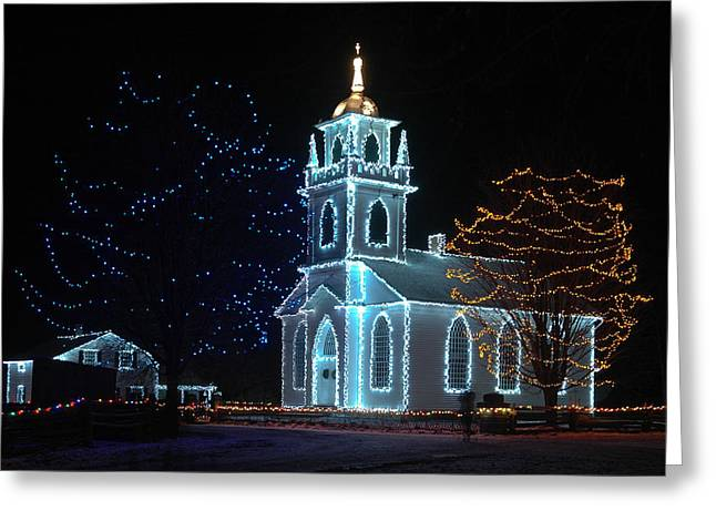 Greeting Card featuring the photograph The Church - Alight At Night. Upper Canada Village by Rob Huntley