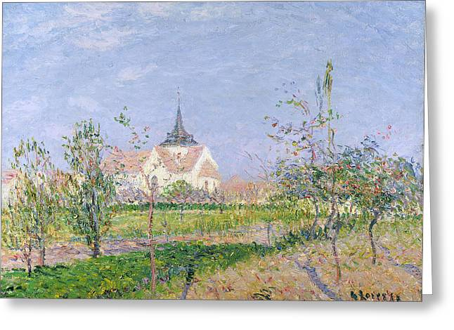 The Church At Vaudreuil Greeting Card by Gustave Loiseau