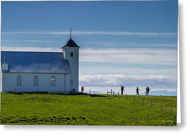 The Church Of Flatey, Flatey Island Greeting Card by Panoramic Images