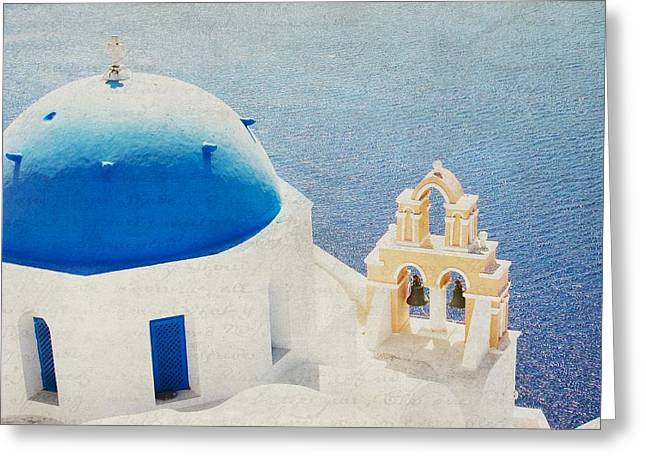 Greeting Card featuring the photograph The Church - Santorini by Lisa Parrish