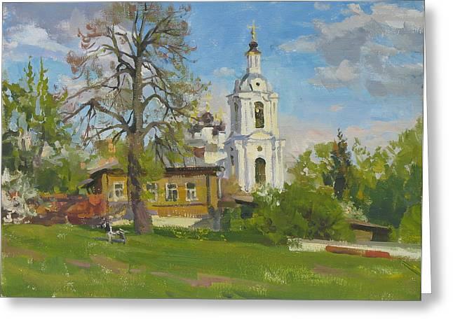 The Church Spasa Za Verhom Greeting Card by Victoria Kharchenko