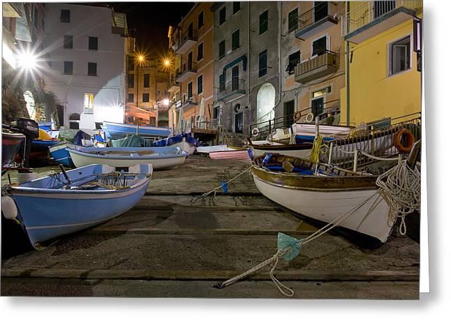 The Cinque Terre - Boats Of Riomaggiore Greeting Card by Rob Greebon