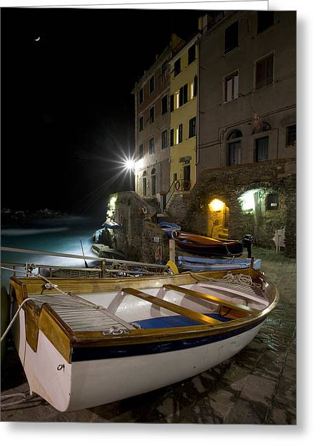 The Cinque Terre - Moon Over Riommagiore Harbor Greeting Card by Rob Greebon