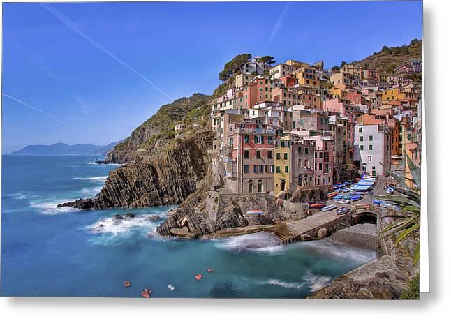 The Cinque Terre - Riomaggiore Afternoon Greeting Card by Rob Greebon