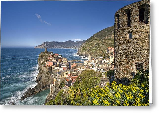 The Cinque Terre - Vernazza From The Upper Castle Greeting Card by Rob Greebon