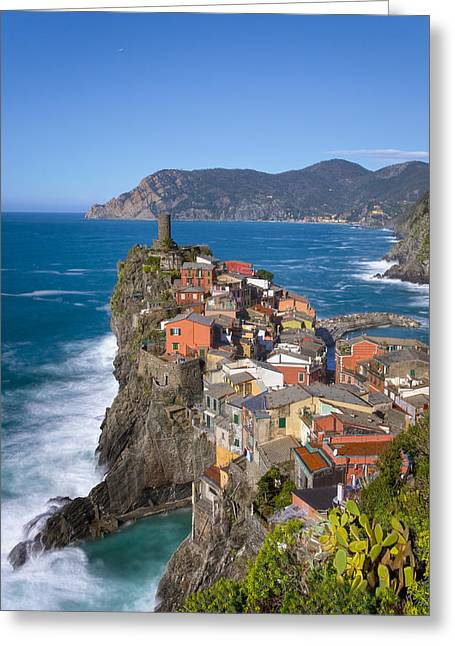 The Cinque Terre  - Vernazza In The Early Afternoon Greeting Card by Rob Greebon
