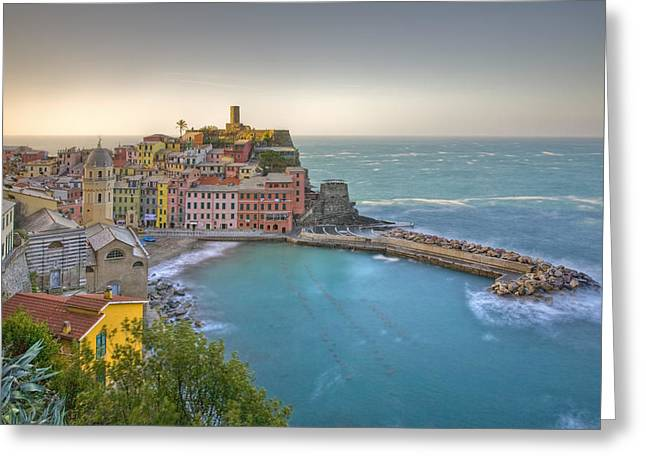 The Cinque Terre - Vernazza Morning II Greeting Card by Rob Greebon