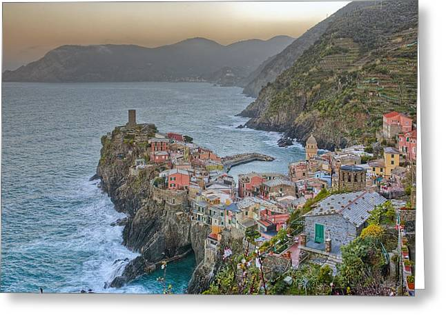 The Cinque Terre - Vernazza Morning Looking North Greeting Card by Rob Greebon