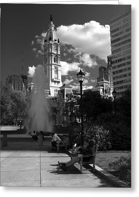 Greeting Card featuring the photograph The City Hall Of Philadelphia In Black And White by Dorin Adrian Berbier