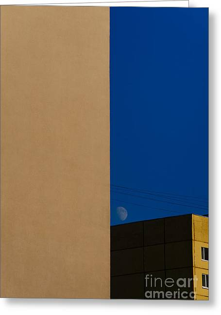 The City Landscape With The Moon Greeting Card by Artem Korenuk
