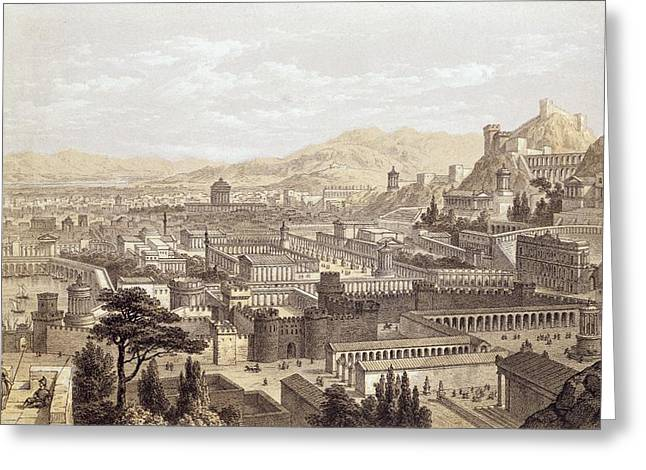 The City Of Ephesus From Mount Coressus Greeting Card by Edward Falkener