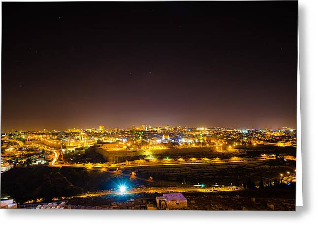 The City Of Jerusalem Greeting Card by David Morefield