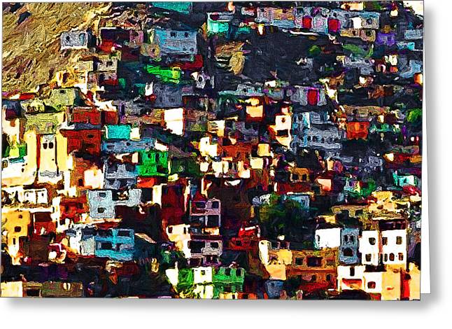 The City On The Hill V1 Square Greeting Card by Wingsdomain Art and Photography