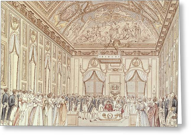 The Civil Ceremony Of The Marriage Of Napoleon Bonaparte 1769-1821 And Marie-louise 1791-1847 Greeting Card by C Percier
