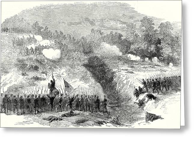 The Civil War In America Attack On The Confederate Greeting Card by American School
