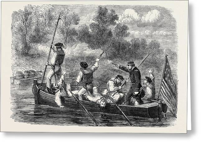 The Civil War In America Confederates Trapping A Boats Crew Greeting Card by English School