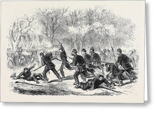The Civil War In America The Fight At Balls Bluff Upper Greeting Card by English School