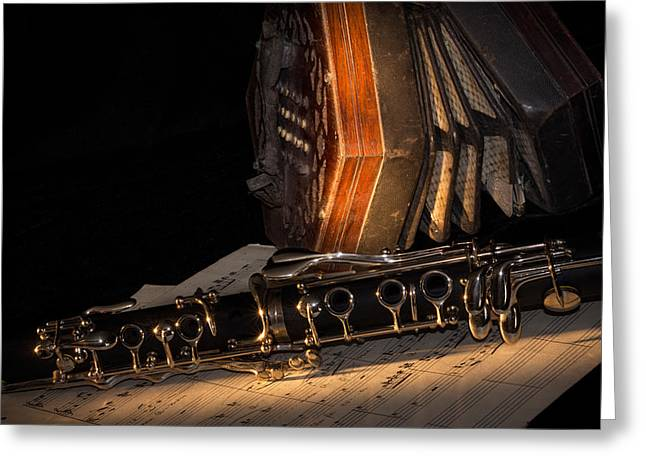The Clarinet And The Concertina Greeting Card by Ann Garrett