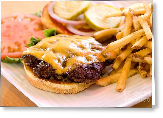The Classic Cheeseburger And Fries Greeting Card
