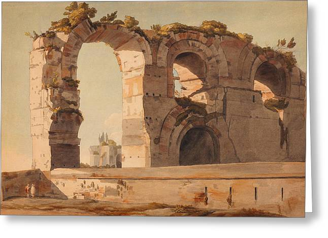 The Claudian Aquaduct Rome Greeting Card by Celestial Images
