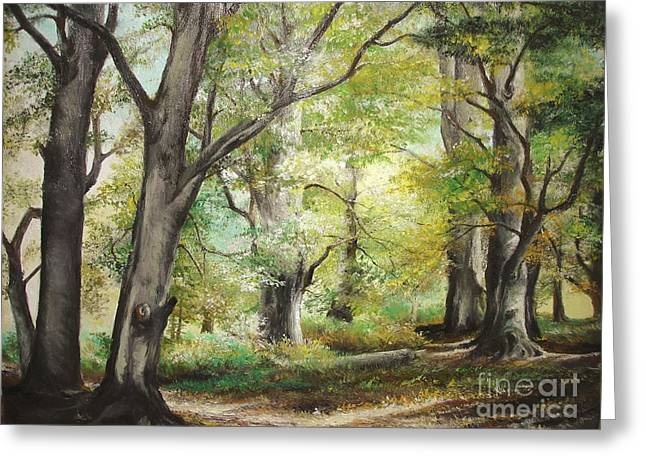 Greeting Card featuring the painting The Clearing by Sorin Apostolescu