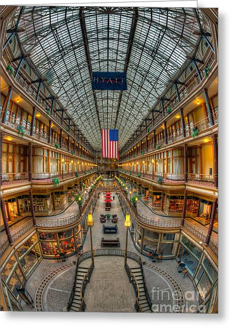 The Cleveland Arcade Vii Greeting Card by Clarence Holmes