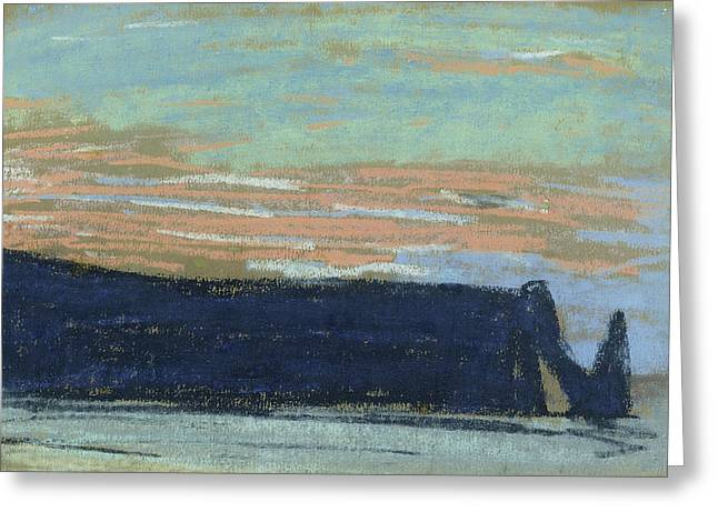 The Cliff At Etretat, C.1885 Pastel Greeting Card by Claude Monet