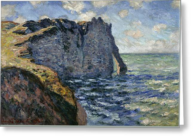 The Cliff Of Aval, Etretat, 1885 Greeting Card by Claude Monet