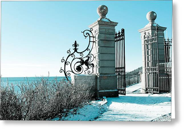 The Cliff Walk Covered In Snow Greeting Card