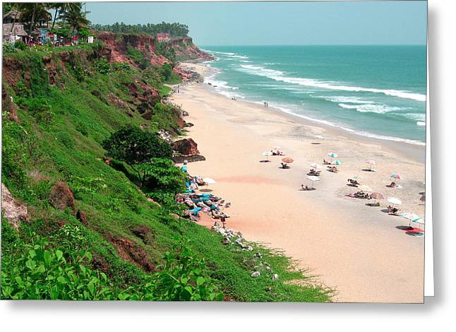 The Cliffs At Varkala Beach Overlooking Greeting Card by Steve Roxbury